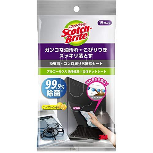 3M キッチン お掃除 シート 換気扇 コンロ周り 除菌 アルコール 99.9% スコッチブライト KCSS-15