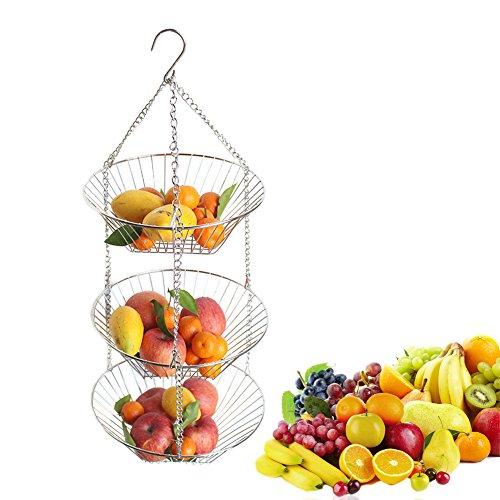 Favourall Obstkorb zum Hängen - 110cm Küchenampel für mehr Platz auf Ihrer Arbeitsplatte - Obst Hängekorb Küche, 3 Ablagekörbe, verchromtes Metall (schwarz)