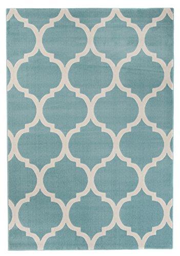 Carpeto Modern Teppich Blau 80 x 150 cm Marokkanisches Muster Canvas Kollektion