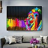 N / A Pintura sin Marco Moderna y Famosa Acuarela Abstracta león Pintura al óleo sobre Lienzo póster Arte de Pared para Sala de estarZGQ5140 60X120cm