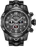 Relojes de cuarzo para hombre, calendario luminoso, correa de acero, reloj de pulsera deportivo, resistente al agua, cronógrafo, reloj de negocio, color negro