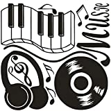 DNVEN 28 inches x 24 inches Music Notes Keyboard Headphone Guitar Record Wall Stickers Quotes Vinyl Wall Decals Decors Art Stickers for Couple Rooms Kids Rooms Bedrooms Music Rooms