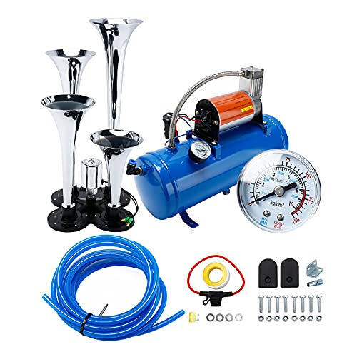 YaeCCC 150DB Super Loud Train Horns kit for Trucks, 4 Air Horn Trumpet for Car Truck Train Van Boat, with 120 PSI 12V Compressor and Gauge