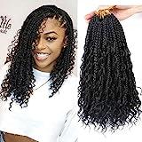 LMZIM 14 Inch Goddess Box Braids Crochet Hair Bohomian Crochet Box Braids Curly Ends 8 Pack 3X Crochet Braids Synthetic Braiding Hair Extension Black