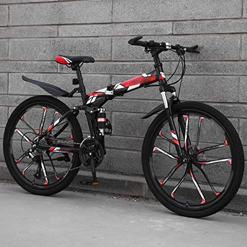 YRYBZ MTB Bici para Adulto, 26 Pulgadas Bicicleta de Montaña Plegable, 27 Velocidades Bicicleta Juvenil, Doble Freno Disco y Doble Suspensión