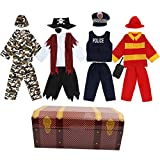 Toiijoy Boys Dress up Trunk 15Pcs Role Play Costume Set-Pirate,Policeman,Soldier,Firefighter Costume for Kids Age 3-6yrs Black