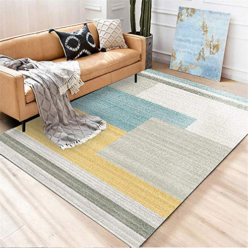 Non Dissolvenza bellissimo Tavolino Tappetti Giallo Moquette del salotto Modello geometrico semplice giallo con tappeto durevole morbido durevole Tappetto 80x120cm 2ft 7.5''X3ft 11.2''