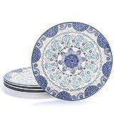 Bico Blue Talavera Dinner Plates Set of 4, Ceramic, 11 inch, for Pasta, Salad, Maincourse, Microwave & Dishwasher Safe