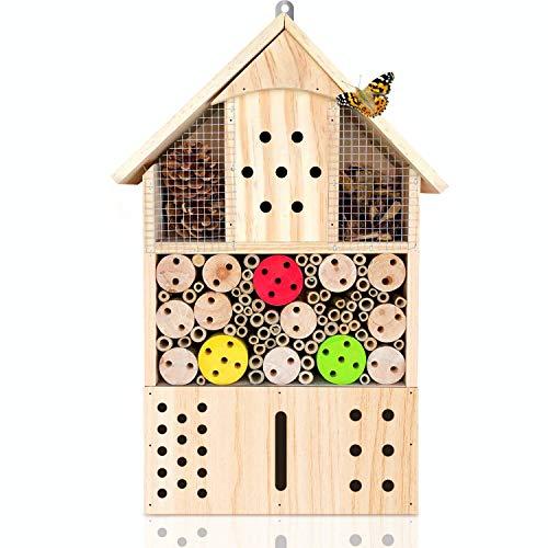 deintierhaus.de©   Insektenhotel aus Naturmaterialien - Unterschlupf & Nisthilfe für Insekten - Natur- & Artenschutzfür Zuhause - Bienenhotel, Insektenhaus,Nützlingshotel   43,5 x 24 x 9 cm