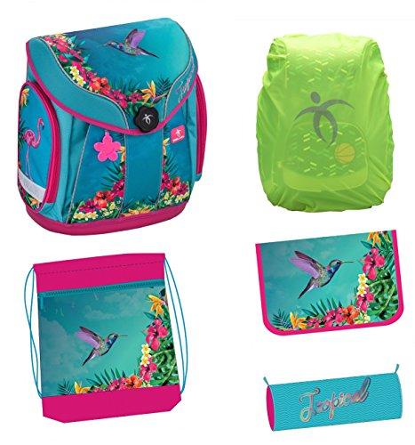 Exclusiv*5tlg.Tropical Kolibri Schulranzen Set passend für Kinder zwischen 6-9 Jahre alt Jungen Mädchen EDEL
