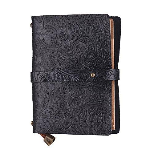 Aibecy Agenda Cuero Vintage en Relieve patrón diario de viaje cuaderno forrado en blanco rejilla papel diario recargable bloc de notas de regalo para hombres y mujeres dibujo boceto