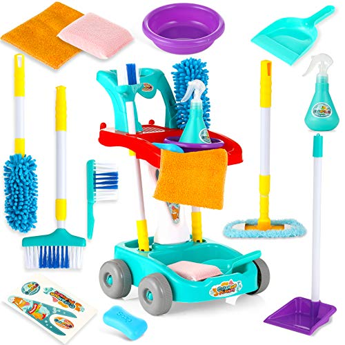ZaxiDeel Reinigungswagen Haushaltsspielzeug für Kinder, Jungen Mädchen Rollenspiel Putzwagen mit 11 Pcs Zubehör: Besen, Mop, Kehrschaufel, Sprühflasche etc. Monterssori Spielzeug und Marke Sticker