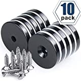 """1.26""""D x 0.2""""H Black Epoxy Coated Neodymium Disc Countersunk Hole Magnets. Strong Permanent Rare Earth Magnets with Screws - Pack of 10"""