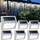 Solar Deck Lights Bright 3 LED Stair Lights Waterproof Stainless Steel Fence Lights Outdoor Solar...