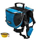 Homiego Dog Saddlebags Hound Travel Hiking Camping Backpack Saddle Bag for Small Medium Large Dogs (Red, L)
