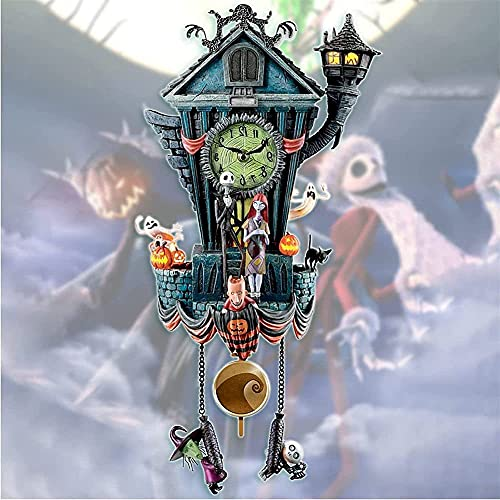 Relógio de parede de Halloween, relógio de parede de O Estranho Mundo de Jack, estátua do relógio de parede de Tim Burton