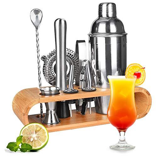 Novhome Juego de Coctelera 750ml Profesional 12 Piezas para Barman Kit de Herramientas de Barra de Acero Inoxidable con Soporte de Bambú para Bar Hogar Mezclar Bebidas