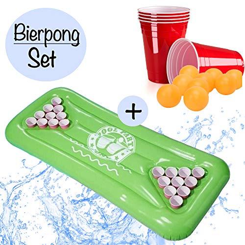 XXL Beer Pong Bier Pong Set | aufblasbare hochwertige Bierpong Luftmatratze inkl. 24x rote Partybecher u. 6x Bälle |aufblasbarer schwimmender Beerpong Tisch | Pool Matraze Red Cups Party Trinkspiel