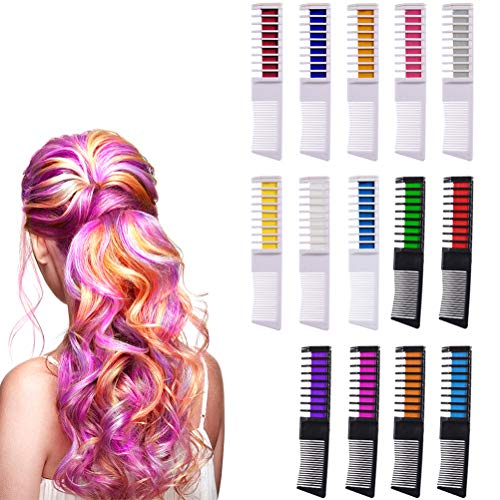 14 Stück Haarfarbe Kamm, Temporär Haarfarbe Kreide Kamm Haarkreide für Mädchen, Haarkreide Kinder Auswaschbar für Kinder Haarfärbemittel Party und Cosplay
