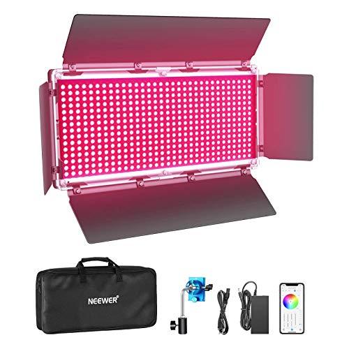 Neewer 960 SMD RGB LED-Licht mit APP-Steuerung CRI95 + / 3200K-5600K / Helligkeit 0-100% / 9 Anwendbare Szenen mit LCD-Bildschirm/U-Halterung/Barndoor Metallhülle für Fotografie