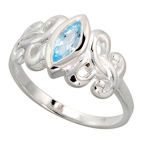Sterling Silver Celtic Motherhood Symbol Knot Ring with Natural Blue Topaz 3/8 inch Wide, Size 10