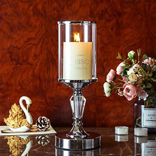 FHJSK Boda Navidad Halloween decoración del hogar Nuevo Europa Estilo Cristal candelero Titular de la Mesa de Comedor de café Porta Vela