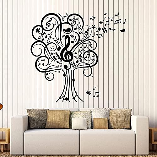 HGFDHG Árbol de la música Tatuajes de Pared Estudio de Arte Musical casa de conciertos decoración de Interiores Pegatinas de Vinilo para Ventanas Notas Musicales de jardín de Infantes Lindo Mural