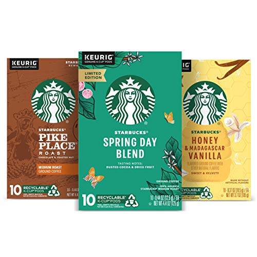 Starbucks Flavored K-Cup Coffee Pods — Spring Variety Pack for Keurig Brewers — 3 boxes (30 pods total)