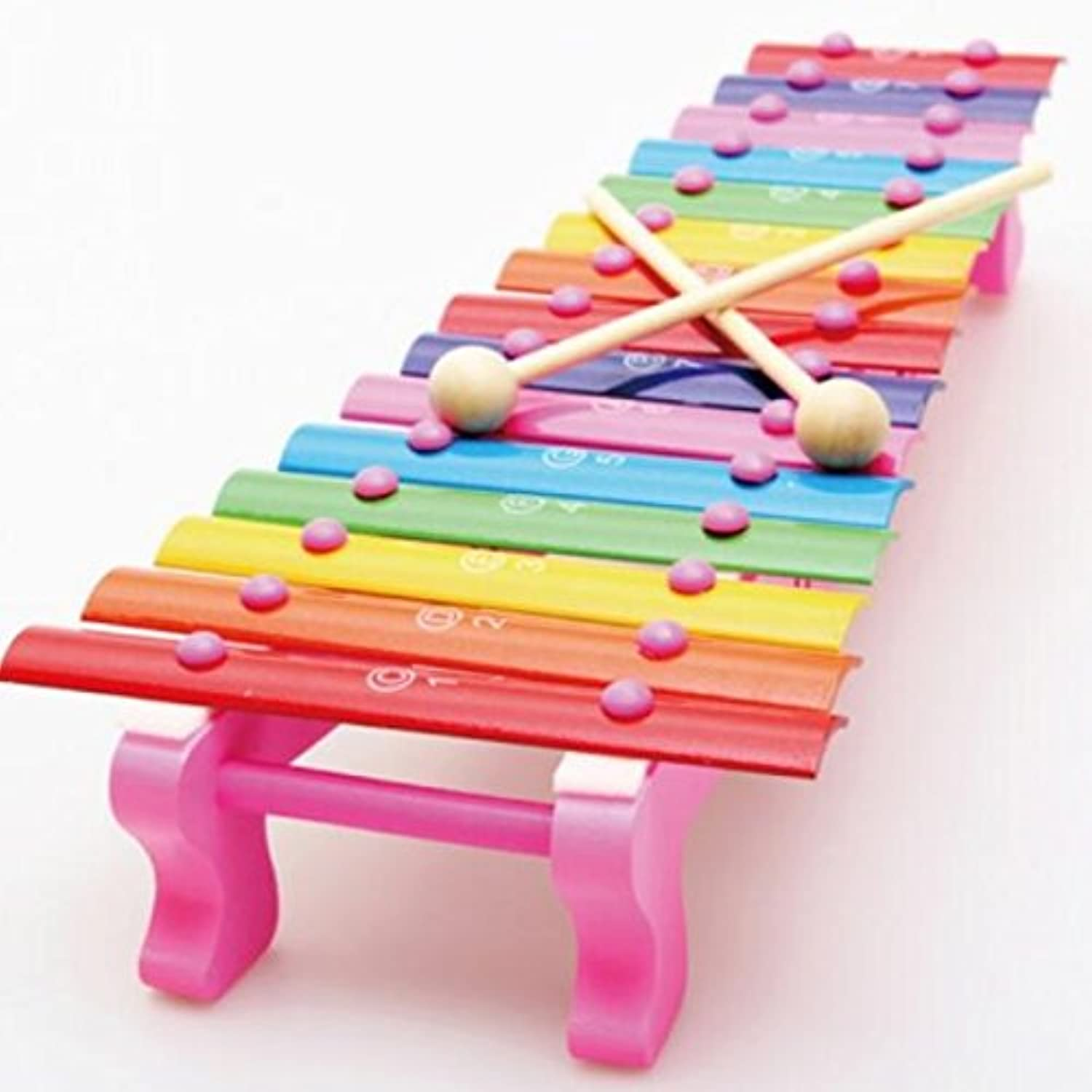 Kids Music Toy 15 Keyboard Xylophone Eight Sounds Knock Piano Pull Along Toy for Learning Music(Pink)