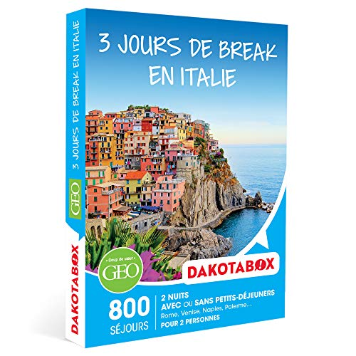 DAKOTABOX - 3 jours de break en Italie - Coffret Cadeau Séjour - 2 nuits avec ou sans petits-déjeuners pour 2 personnes partout en Italie
