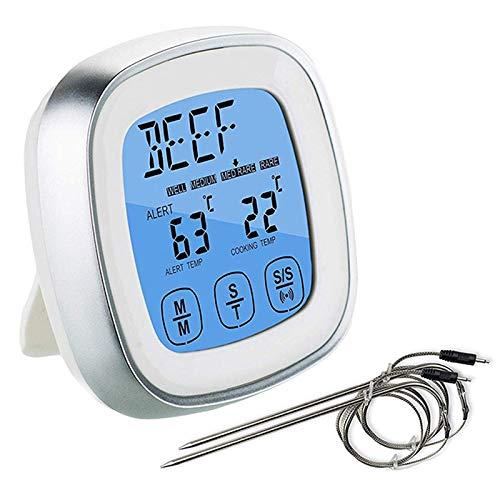 Kaxofang Termómetro digital de carne para parrilla – Horno ahumador cocina cocina instantánea medidor de temperatura con sondas de repuesto con cable de metal