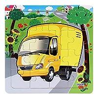 MIOAHD パズル、16スライス車両パターンパズル木製の小さなピース子供のおもちゃ木製のジグソーパズル子供のための赤ちゃんの教育玩具ゲーム