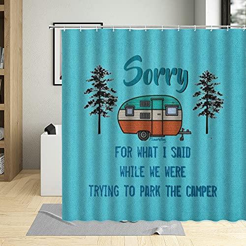 XCBN Cartel de Viaje de Verano Cortina de Ducha Tabla de Surf Bus Palm Beach Carrito de Helados Ilustración Decoración de baño Cortina A5 150x180cm