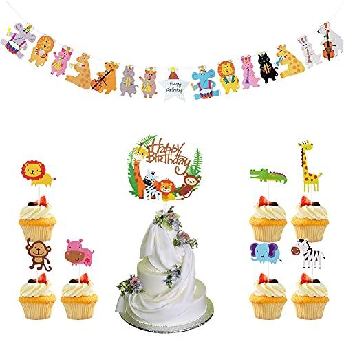 FANDE Sombrero de Copa con Decoración de Pastel, Sombrero de Copa de Animal con Tema de Selva de 3 PCS, Bandera de Tracción Animal, Decoración de Fiesta de Cumpleaños para Baby Shower