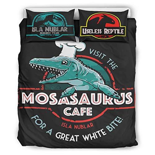 DOGCATPIG Ropa de cama para todas las estaciones Visit the Mosasaurus Cafe Microfibra ligera, suave y reversible elegante colcha para compañeros de piso Jurásico blanco 104 x 90 pulgadas
