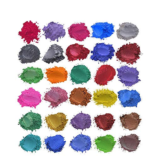 Epoxidharz Metallic Glimmer Pulver,Tonsee 30farbenx5g Seifenfarbe Set Color Pigment Powder Mica Für die Aquarellmalerei Bilden Farbstoffe Kerzenherstellung Lidschatten Erröten Nailart