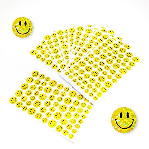 Oblique-Unique® 620 x Smiley Sticker Aufkleber Glitzer Effekt Scrapbooking Deko Kinder Freude
