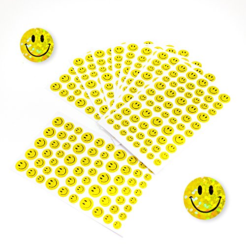 Oblique Unique® 620 x Smiley Sticker Aufkleber Glitzer Effekt Scrapbooking Deko Kinder Freude