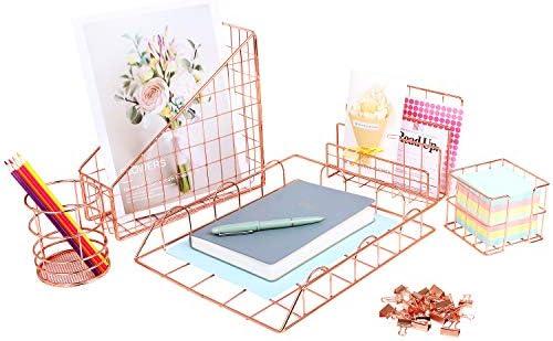 Cute Rose Gold Desk Organizer Set with Letter Tray folder Holder Pen Holder Magazine File Organizer product image
