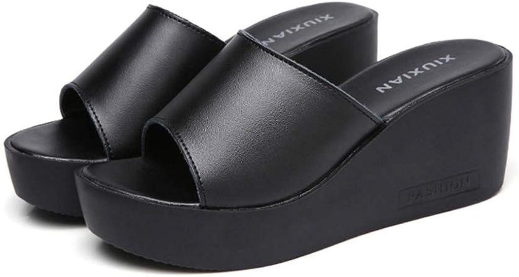 MIOKE Women's Wedge Slide Sandals Casual Slip On Comfort Open Toe Summer Chunky High Heel Platform Sandal
