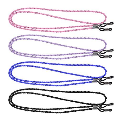 SUPVOX 4pcs Gafas Gafas Correas de cuero Gafas de sol ajustables Gafas Cordones de cristal Cordón (azul, púrpura, negro y rosa)