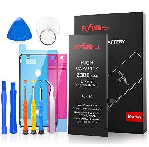 FLYLINKTECH Batteria per iPhone 6 Alta Capacità 2300mAh Batteria Interna di Ricambio in Li-ion, Strumenti di Riparazione Professionale Completi con Kit Sostituzione, Cacciavite Strumenti e Adesivo
