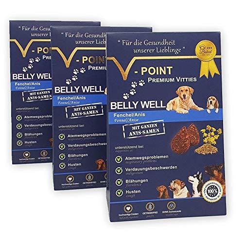 V-POINT Premium Vitties für Hunde FENCHEL Anis bei Blähungen, Durchfall, Verdauungsprobleme, Husten, Atemwegsprobleme, ohne Zucker Zusatz, getreidefrei, vegan, Alternative zu Hundeleckerlie (3X 250g)