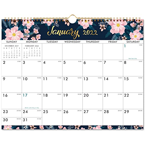 """2022 Calendar - Wall Calendar with Colorful Monthly Page, Jan 2022 - Dec 2022, 15"""" x 11.5"""", Twin-Wire Binding & Large Blocks, Perfect for School, Office & Home Planning"""