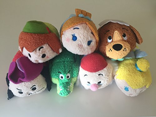 New Disney Parks Peter Pan Tsum Tsum Set of 7 Mini 3.5' Plush Dolls