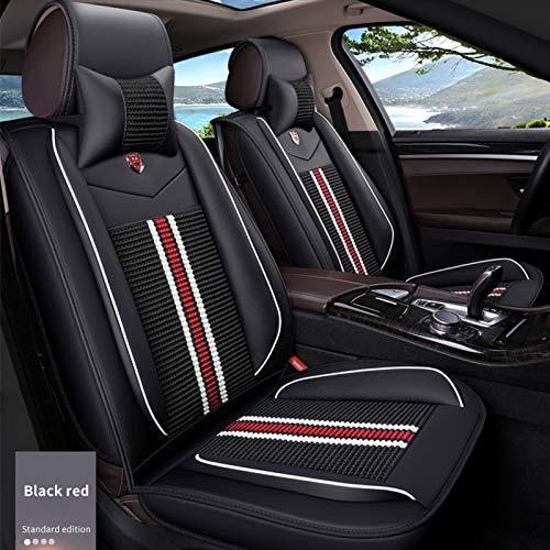 車 シートカバー クッション PUレザー 5席フルセット に適し プジョー Peugeot 208 308 2008 3008 5008 カーシートカバー 全天候用(ブラックレッド)