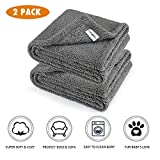 Premium Fluffy Fleece Dog Blanket, Soft and Warm Pet Throw for Dogs & Cats (2-Pack Medium 32x40'', Grey)