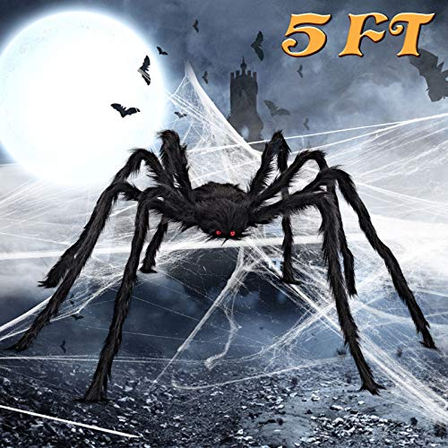 ALLADINBOX Halloween Hairy Scary Virtual Realistic Posable Spider Black - Indoor Outdoor Yard Furry Giant Haunted House Party Decor Supplies, 60