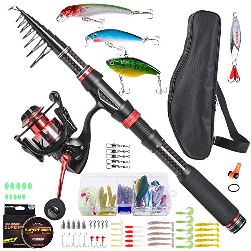 Portable Fishing Rod and Reel Combos Carbon Fiber Telescopic Fishing Rod Set Come with All Accessories 64 Pcs for Travel Saltwater Freshwater Fishing (Rod and Reel Combos with Full Kits, 1.8m/5.91ft)