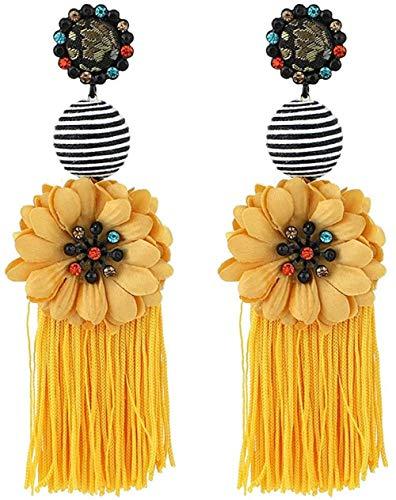 NC110 Pendientes Largos de Flecos con Flores Pendientes Colgantes de Diamantes Multicolores Simples y Salvajes-Amarillo